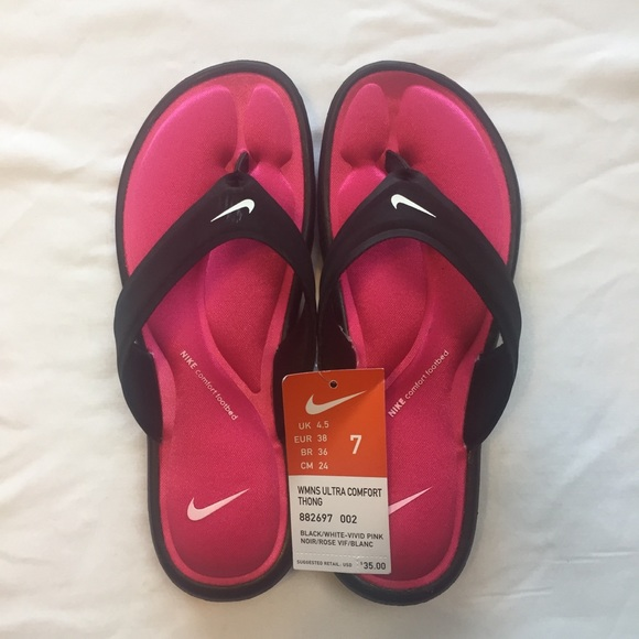 0669718ecd5 Nike Ultra Comfort Thong Sandal Black Vivid Pink 7